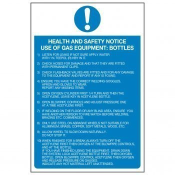 HEALTH AND SAFETY NOTICE USE OF GAS EQUIPMENT BOTTLES 1) LISTEN FOR LEAKS IF NOT SURE APPLY WATER WITH 1% TEEPOL (R) HBY IN IT.