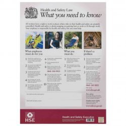 Health And Safety Law / HSE Poster / Laminated / Size : 594 x 420 mm