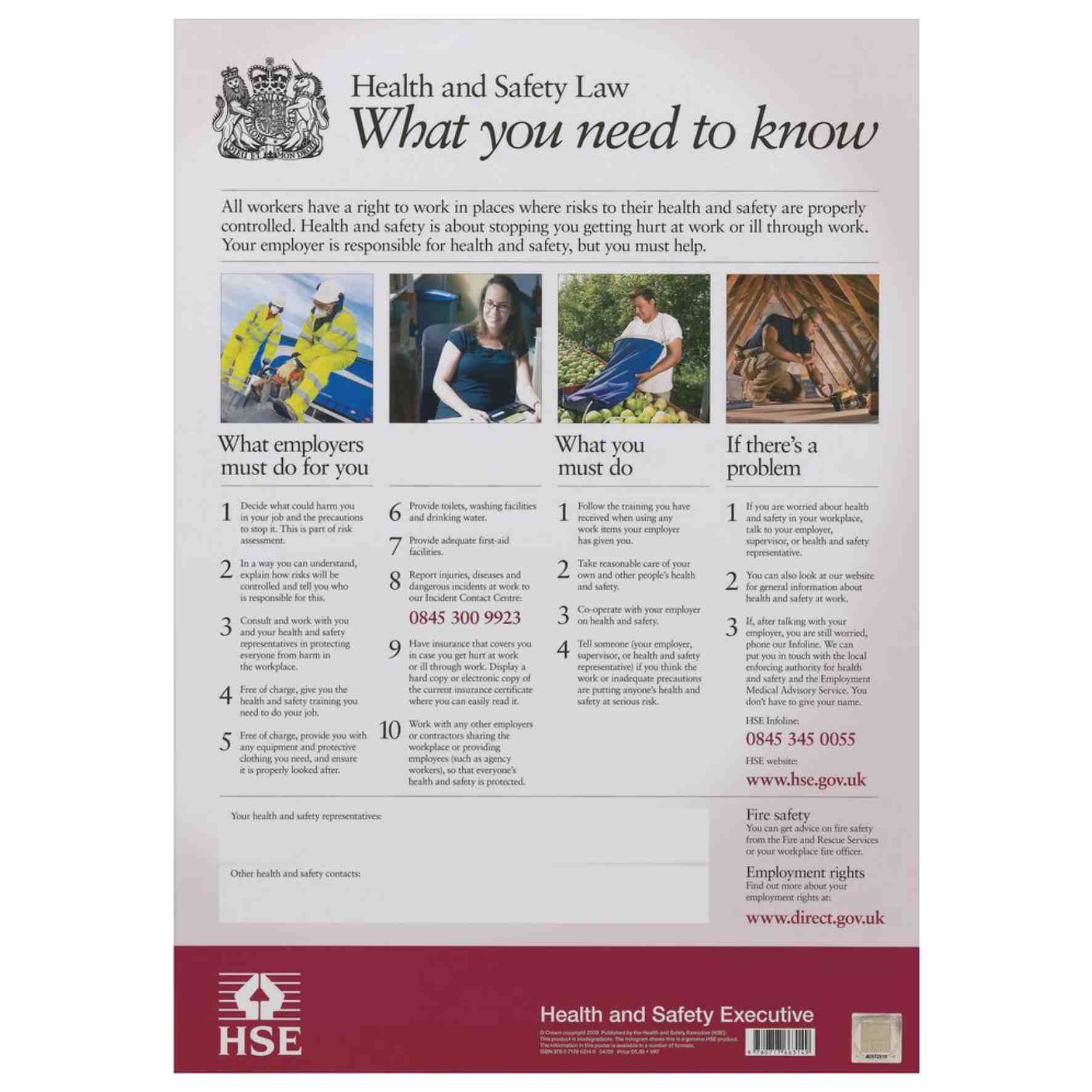 Health And Safety Law / HSE Poster / Laminated / Size ...
