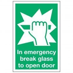 In emergency break glass to open door