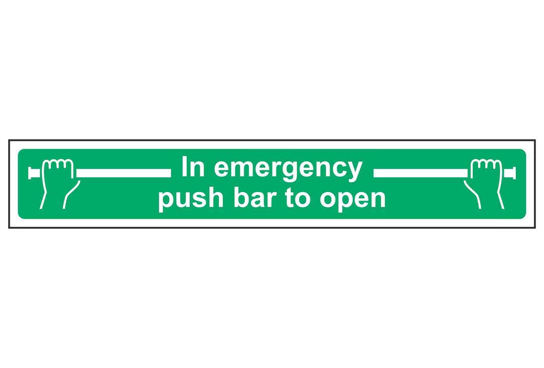 In emergency push bar to open