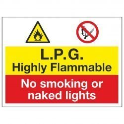 L.P.G. Highly Flammable / No smoking or naked lights