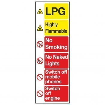 LPG / Highly Flammable / No Smoking / No Naked Lights / Switch off mobile phones / Switch off engine