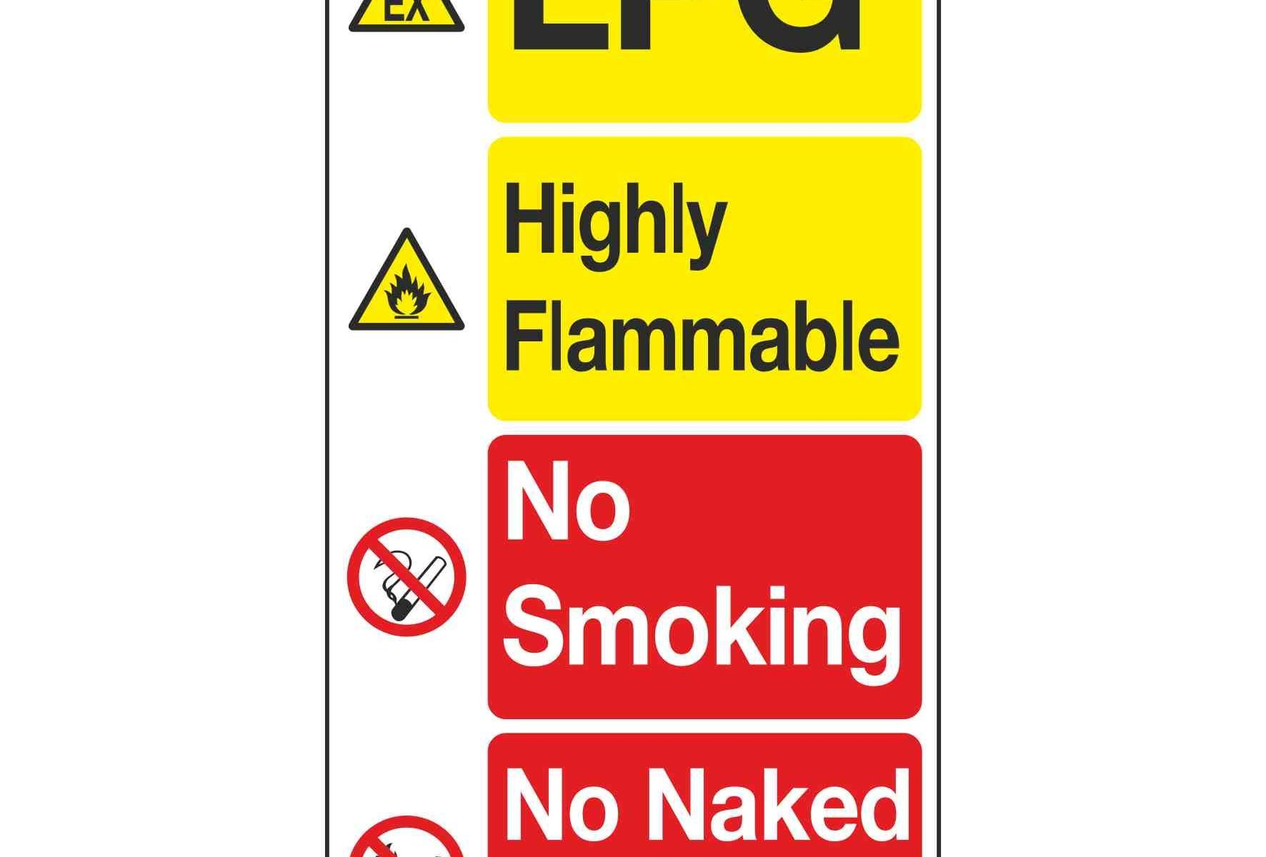 LPG / Highly Flammable / No Smoking / No Naked Lights