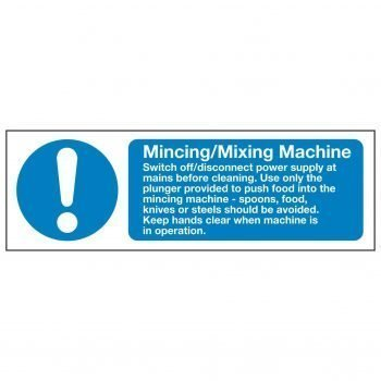 Mincing Mixing Machine Switch off disconnect power supply at mains before cleaning. Use only the plunger provided to push food into the mincing machine - spoons, food, knives or steels should be avoided.
