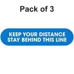 Multipack floor graphic 3 425mm x 100mm keep your distance stay behind this line