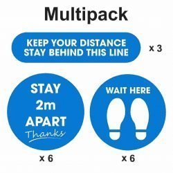 Multipack floor graphic 6 200mm diameter stay 2m apart, 6 200mm diameter wait here 3 425mm x 100mm keep your distance stay behind this line