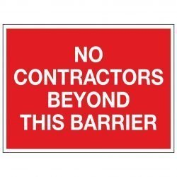 NO CONTRACTORS BEYOND THIS BARRIER