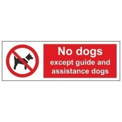 No dogs except guide and assistance dogs