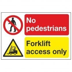 No pedestrians Forklift access only