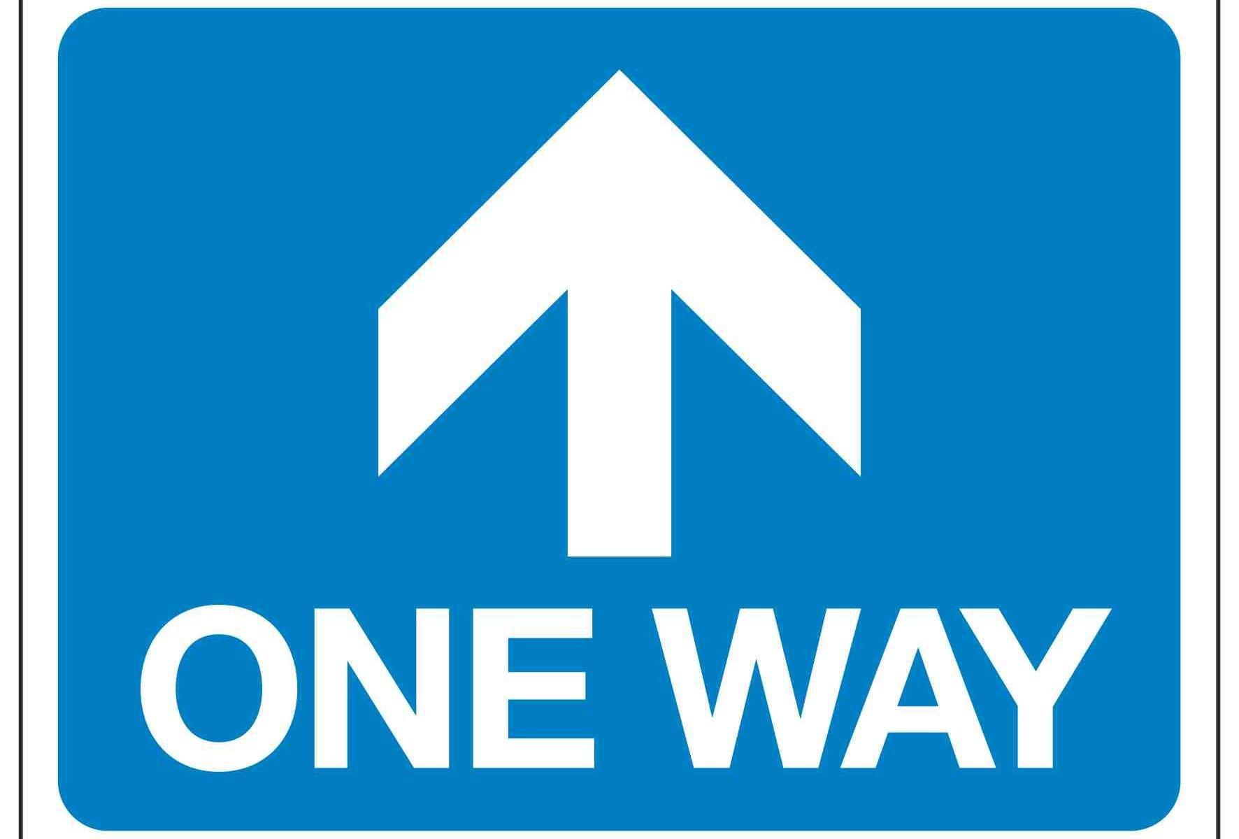 ONE WAY (Arrow pointing forwards)
