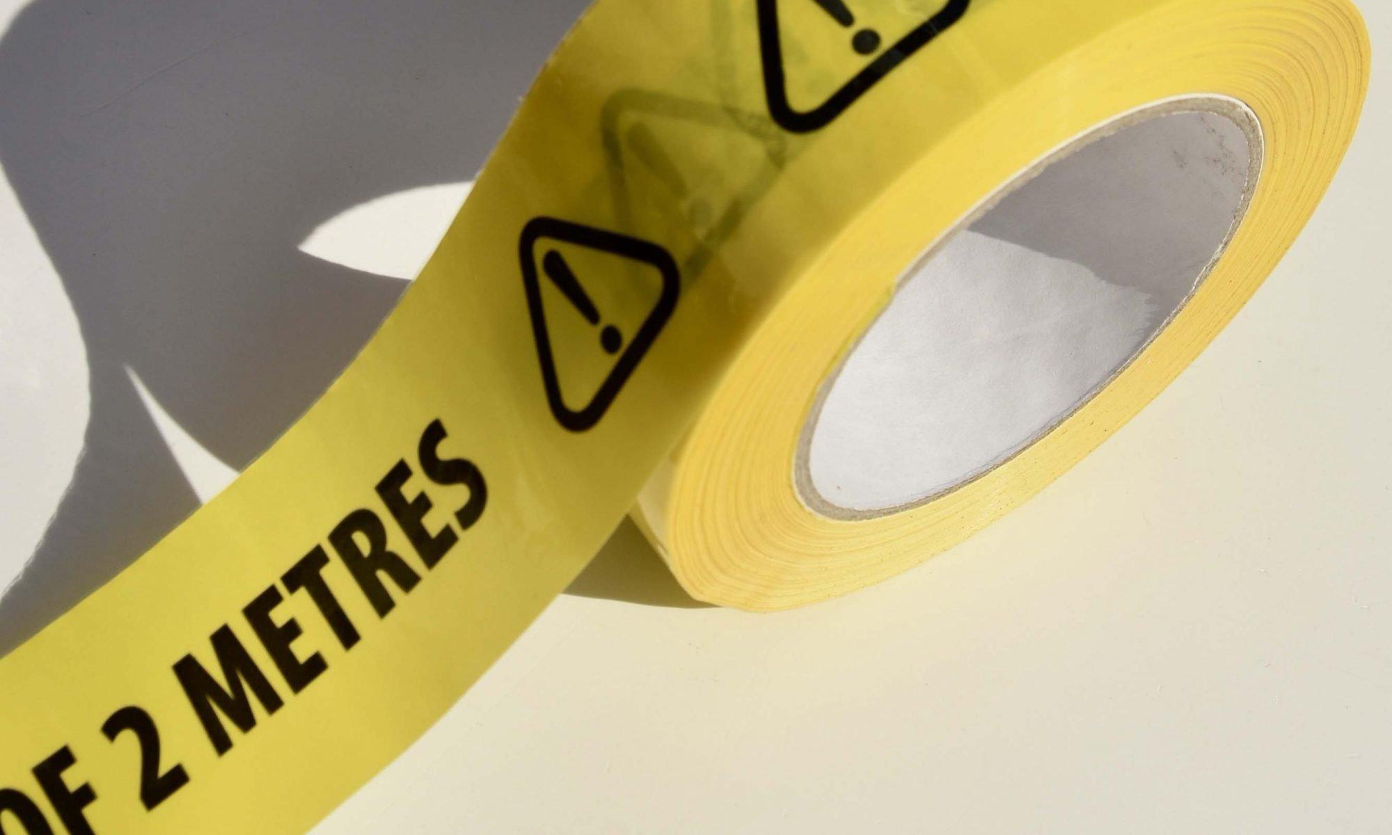 PLEASE KEEP A SAFE DISTANCE OF 2 METRES Black/Yellow Vinyl Floor Tape (50mm x 66m)