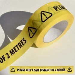 PLEASE KEEP A SAFE DISTANCE OF 2 METRES Black/Yellow Vinyl Floor Tape (50mm x 66m)