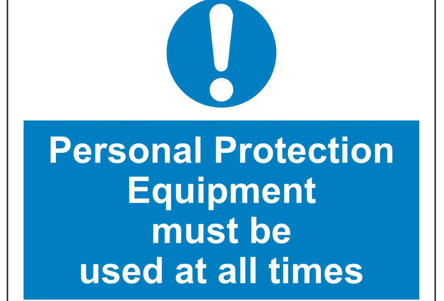 Personal Protection Equipment must be used at all times
