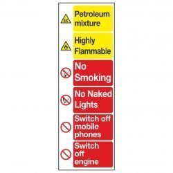 Petroleum mixture / Highly Flammable / No Smoking / No Naked Lights / Switch off mobile phones / Switch off engine
