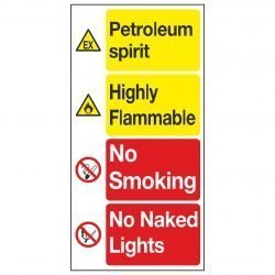 Petroleum spirit / Highly Flammable / No Smoking / No Naked Lights
