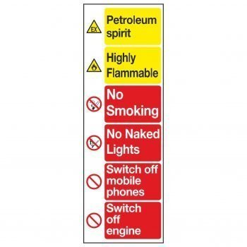 Petroleum spirit / Highly Flammable / No Smoking / No Naked Lights / Switch off mobile phones