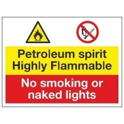 Petroleum spirit Highly Flammable / No smoking or naked lights