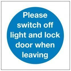 Please switch off light and lock door when leaving