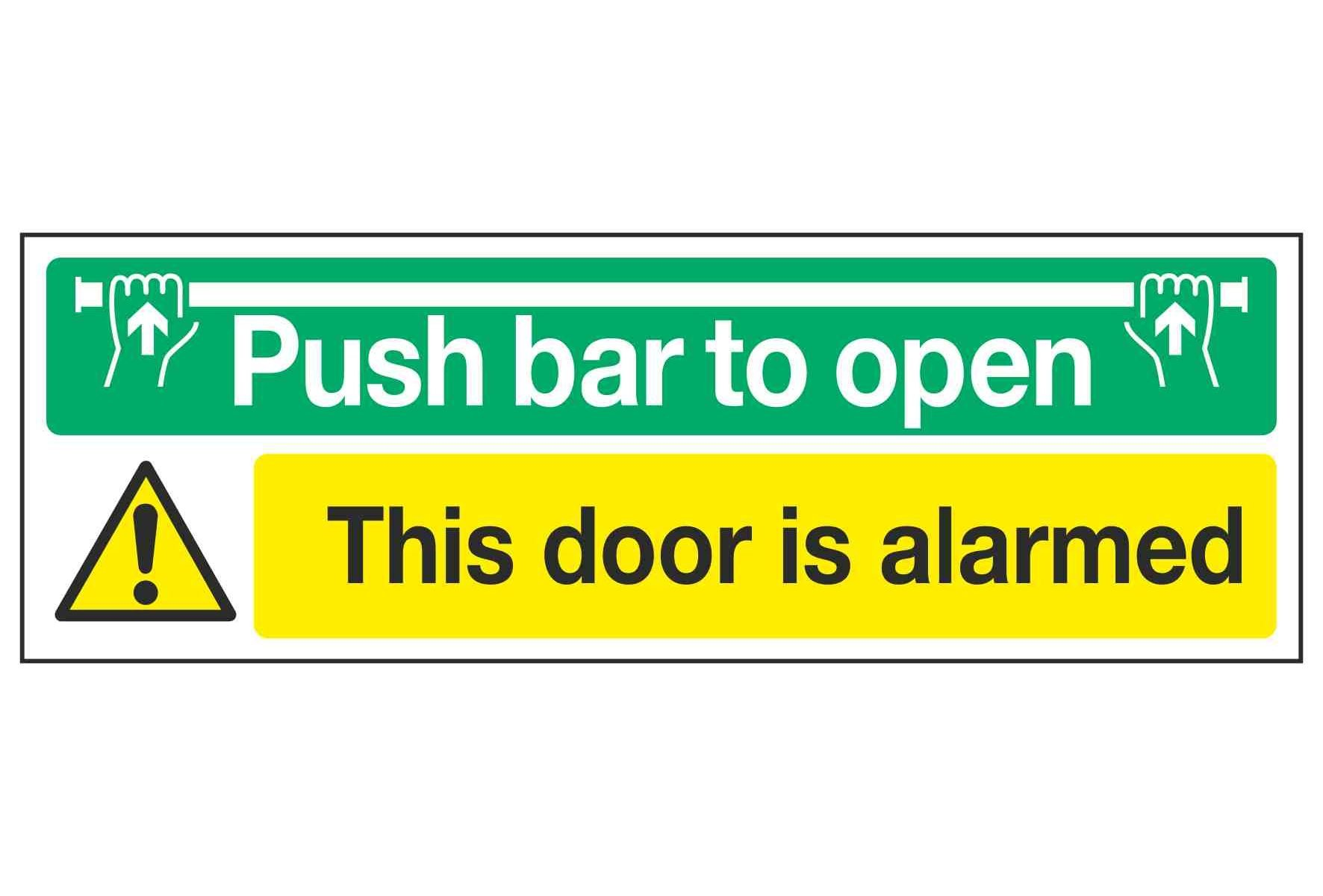 Push bar to open / This door is alarmed