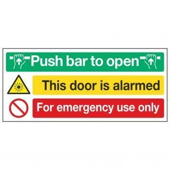 Push bar to open / This door is alarmed / For emergency use only