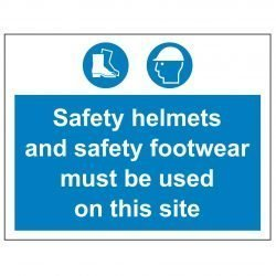 Safety helmets and safety footwear must be used on this site