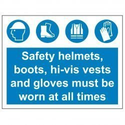 Safety helmets, boots, hi-vis vests and gloves must be worn at all times