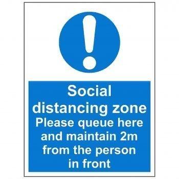 Social distancing zone please queue here