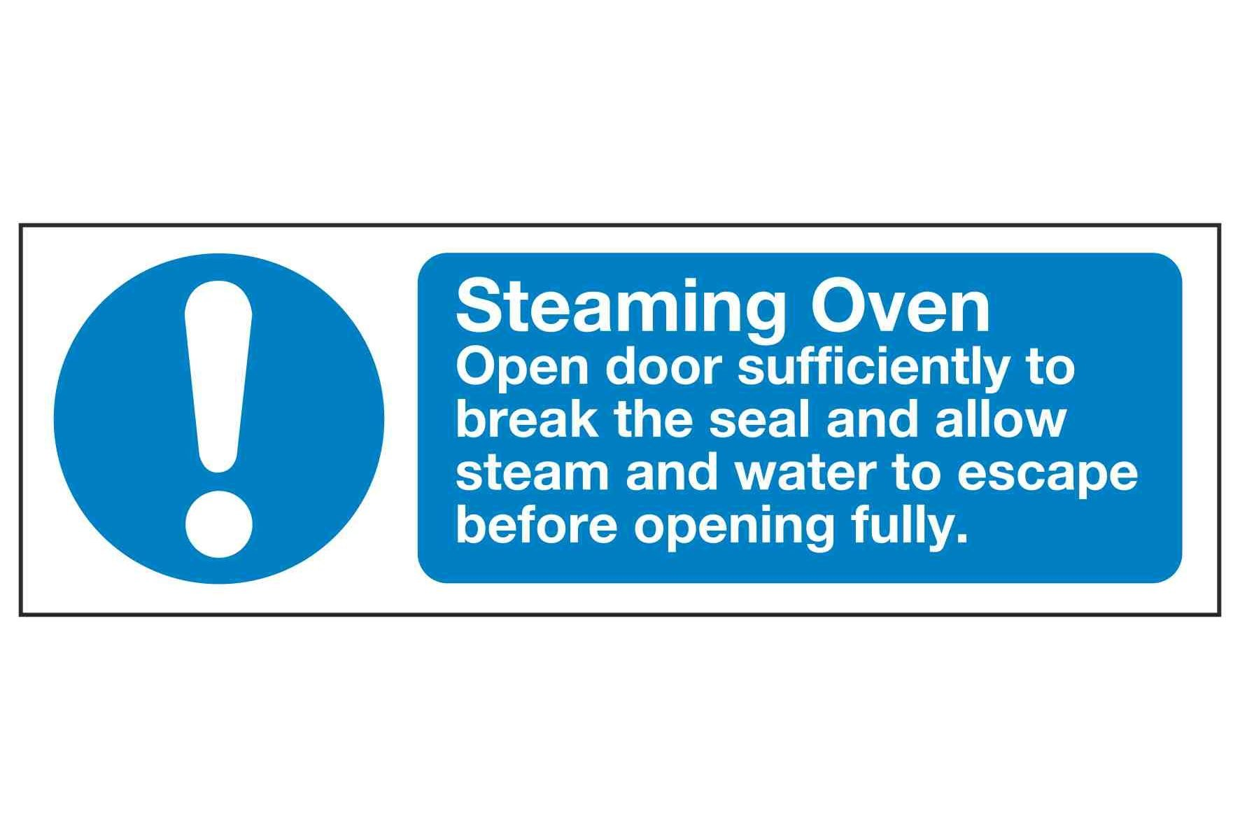 Steaming Oven Open door sufficiently to break the seal and allow steam and water to escape before opening fully.