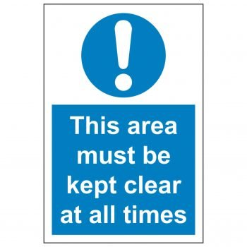 This area must be kept clear at all times