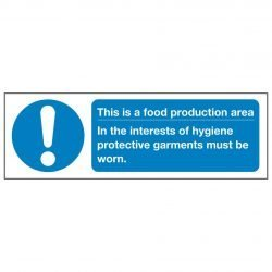 This is a food production area In the interests of hygiene protective garments must be worn.