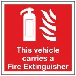 This vehicle carries a Fire Extinguisher (Window sticker)