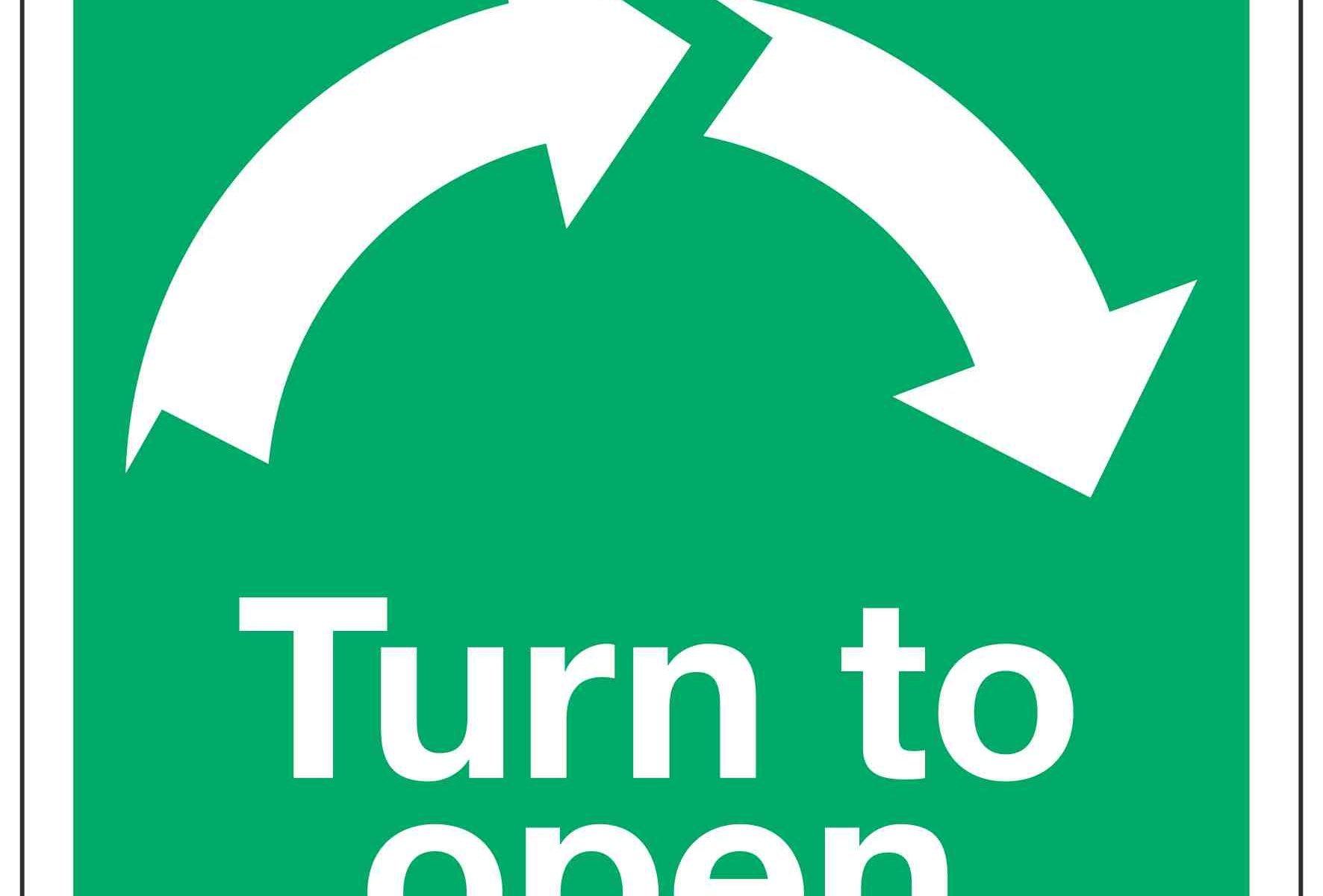Turn to open / Clockwise Arrows