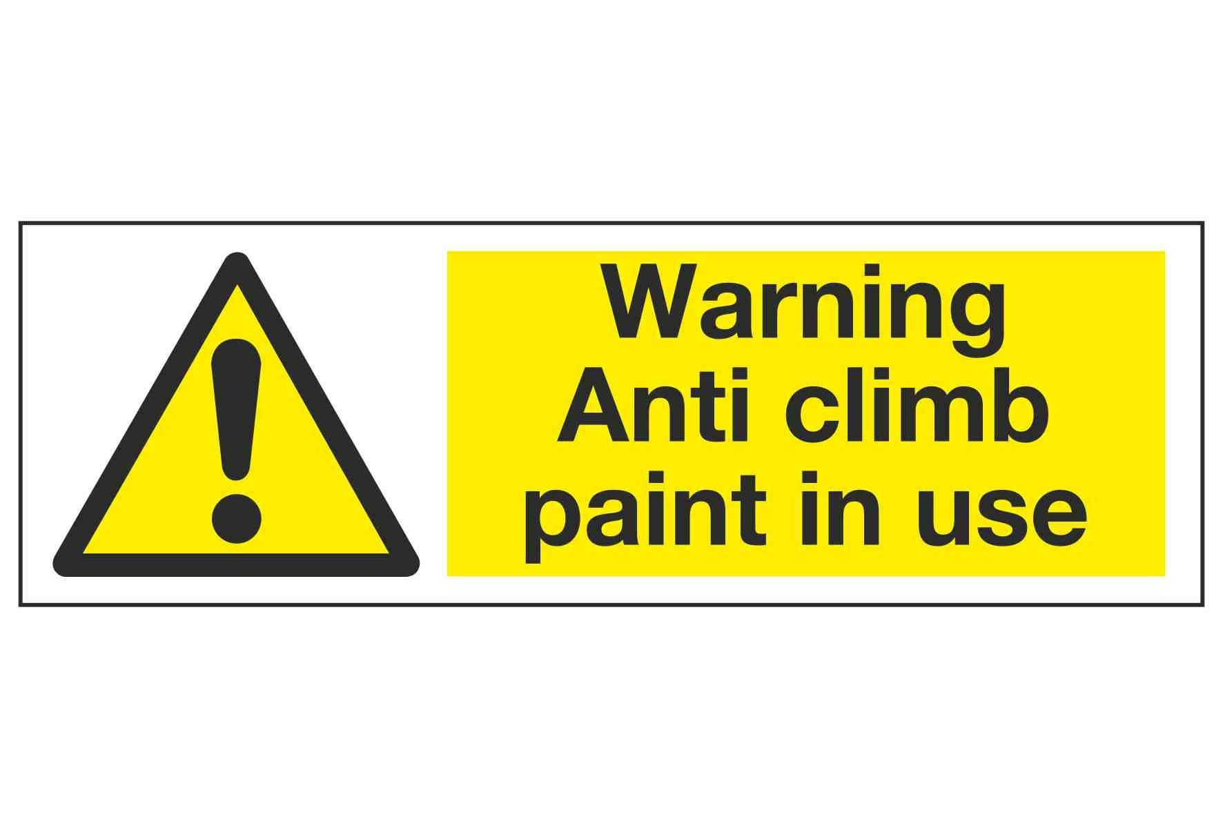 Warning Anti climb paint in use