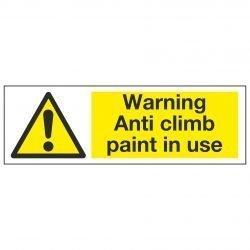 Warning Anti climb paint in use