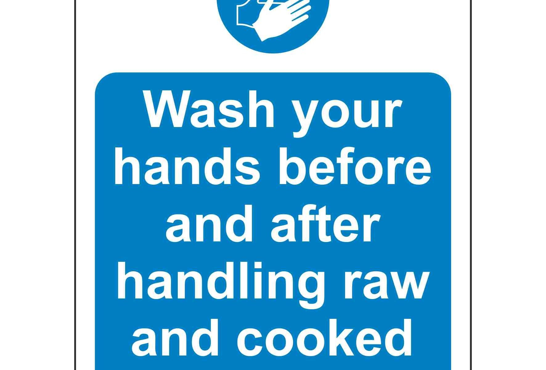 Wash your hands before and after handling raw and cooked food